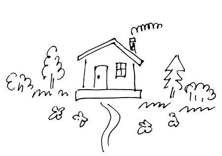 Sketch of countryside house surrounded by trees Hand drawn vector illustration.