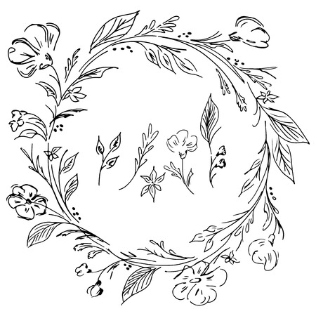 Hand drawn vector wreath. Floral circle frame design elements for invitations, greeting cards, posters, blogs. Delicate set of flowers, branches and leaves