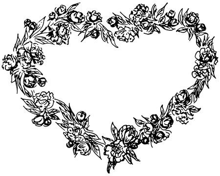 corona vettoriale a forma di cuore. Elementi di design del telaio del cerchio floreale per inviti, biglietti di auguri, poster, blog. Delicato insieme di fiori, rami e foglie