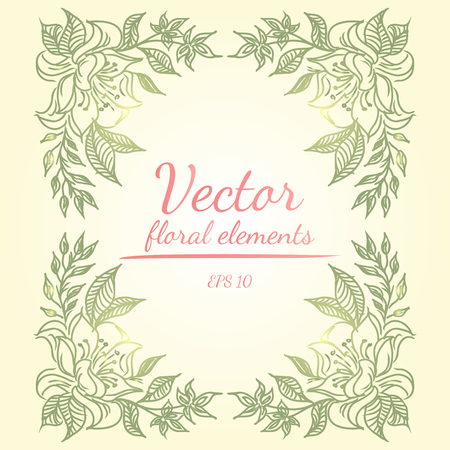Wreath of green flowers branch on yellow color background. Floral design elements for invitations, greeting cards, posters, blogs. Hand drawn vector illustration. Vector floral elements