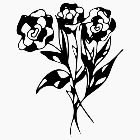 Hand Drawn Vector Illustrations Of Abstract Rose Flower Isolated on Gray. Hand Drawn Sketch of a Flower.