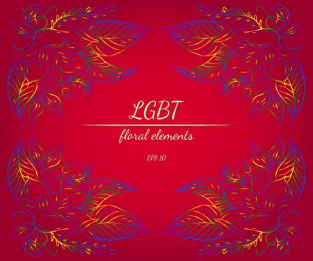 Wreath of LGBT color flowers in form of heart on red background. floral frame design elements for wedding invitation, greeting card, poster, blog. vector illustration. Line art. Sketch Illusztráció