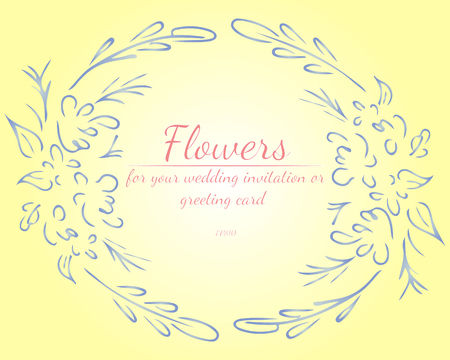 Wreath of roses or peonies flowers with shalimar, lemon, polo blue, azalea and white nectar colors. Floral frame design elements for wedding invitation and greeting card. Hand drawn. Line art. Sketch.