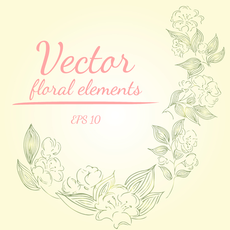 Hand drawn illustration of roses or peonies flowers branches with living coral, green, sage, white nectar colors. floral frame design elements for invitations, greeting cards, posters, blogs