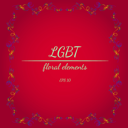 Wreath of LGBT Color Flowers in Form of Heart on Red Background. Floral Frame Design Elements For Invitations, Greeting Cards, Posters, Blogs.  vector illustration. Line art. Sketch Illusztráció