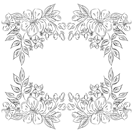 Wreath of black roses or peonies flowers and branches isolated of white. Foral frame design elements for invitations, greeting cards, posters, blogs.
