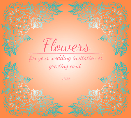 eath of roses or peonies flowers with living coral, turquoise and white colors. Floral frame design elements for your wedding invitation and greeting card. Hand drawn. Line art. Sketch Imagens - 122585795