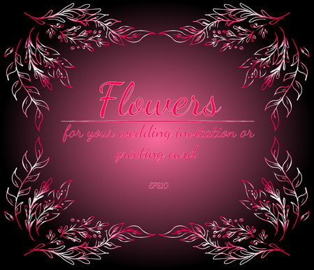 Wreath of roses or peonies flowers with gradient of razzmatazz, red, pink, antique ruby colors. floral frame fesign elements for wedding invitation and greeting card. Hand drawn. Line art. Sketch Imagens - 122585798
