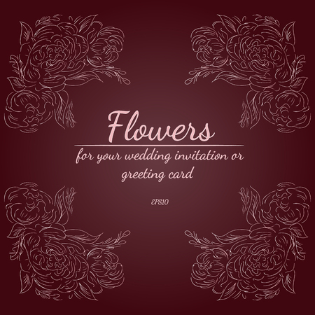Wreath of roses or peonies flowers with rustic red, brown, chocolate and pale pink colors. Floral frame design elements for wedding invitation and greeting card. Ilustracja