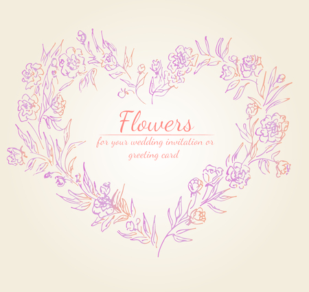 Wreath of roses or peonies flowers branches with pink, purple and coral colors. Floral frame design elements for wedding invitation and greeting card. Hand drawn. Line art. Sketch. Ilustracja