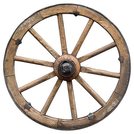 wooden vector cartoon style wheel isolated on white background Stock Illustratie
