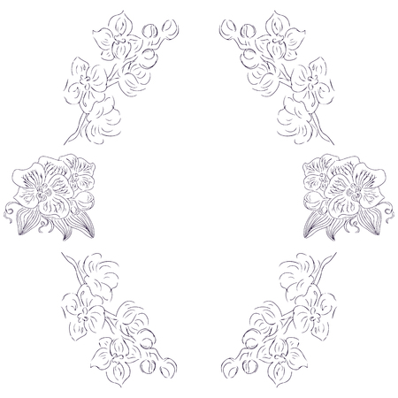 Wreath of black orchid flowers and branches isolated of white. Foral frame design elements for invitations, greeting cards, posters, blogs.