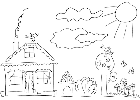 Sketch of countryside house surrounded by trees.  Line art. Stock Photo