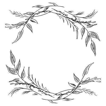 Guirnalda de ramas de flores silvestres aisladas sobre fondo blanco. Elementos de diseño de marco foral para invitaciones, tarjetas de felicitación, carteles. ilustración. Arte lineal. Bosquejo.