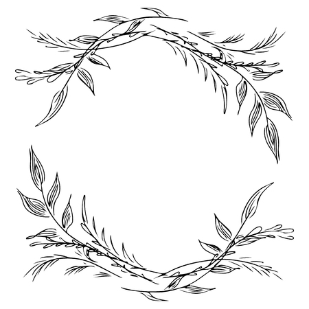 Krans van wilde bloemen takken geïsoleerd op een witte achtergrond. Foral frame designelementen voor uitnodigingen, wenskaarten, posters. illustratie. Lijn kunst. Schetsen.