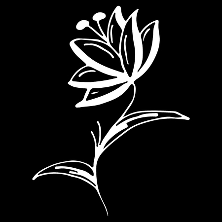 Abstract wildflower outline icon isolated on black background. Creative luxury fashion logotype concept icon. Hand Drawn vector illustration. wildflower logo.