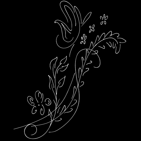 Abstract wild flowers outline icon isolated on black background. Hand Drawn vector illustration. Line art. Sketch.  イラスト・ベクター素材