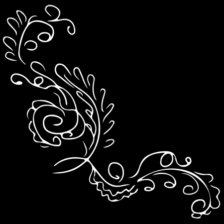 Abstract wildflower outline icon isolated on black background. Hand Drawn vector illustration. Wildflower logo.