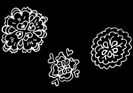 Abstract wildflowers outline set isolated on black background. Hand Drawn vector illustration. Wildflowers collection of three outline flowers  イラスト・ベクター素材