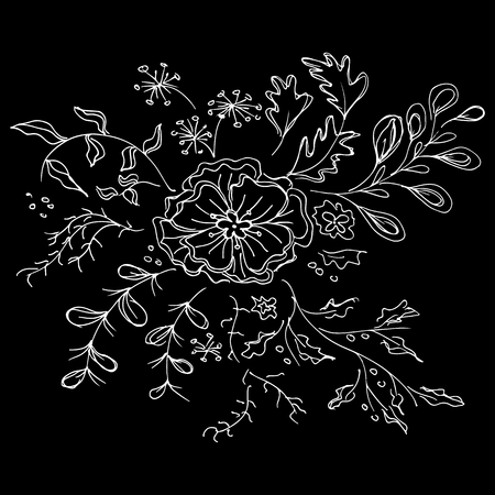 Abstract wildflowers outline icon isolated on black background. Hand Drawn vector illustration.  イラスト・ベクター素材