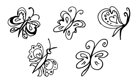 Set of hand drawn butterflies isolated on black background. Vector doodled elements for decoration.