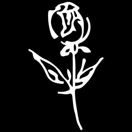 Abstract hand drawn rose flower isolated on black background. Rose flower vector outline icon. Line art. Close up.