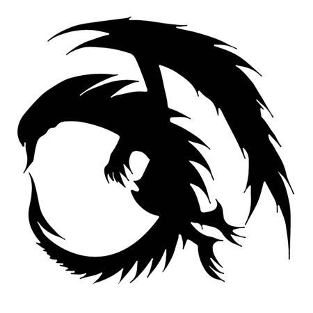 Hand drawn vector dragon illustration isolated on white background. Fantastic dragon icon. Freehand mythology aminal. Fantasy outline illustration. Banque d'images - 124795488