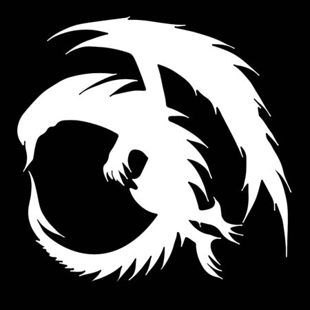 Hand drawn vector dragon illustration isolated on black background. Fantastic dragon icon. Freehand mythology aminal. Fantasy outline illustration Banque d'images - 124795485