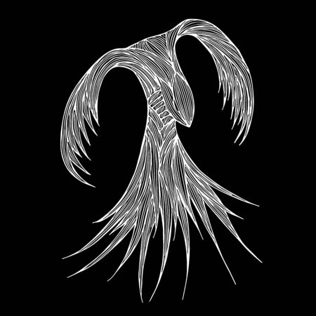 Phoenix Fire bird illustration and character design. Phoenix fire bird isolated on black background. Japanese animal tattoo design. Hand drawn outline vector illustration.