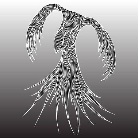 Illustration d'oiseau de feu de Phoenix et conception de caractère. Oiseau de feu Phoenix isolé sur fond gris. Conception de tatouage animal japonais. Illustration vectorielle de contour dessiné à la main. Vecteurs