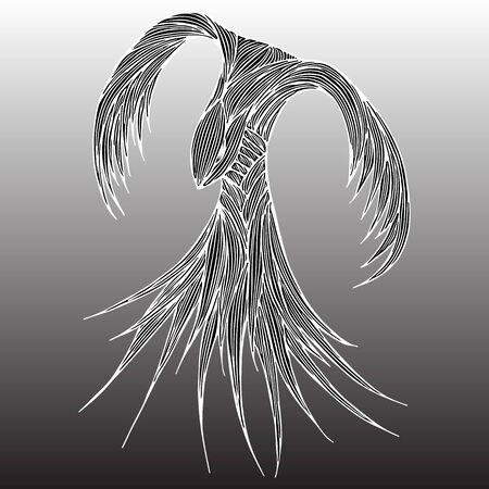 Phoenix Fire bird illustration and character design. Phoenix fire bird isolated on gray background. Japanese animal tattoo design. Hand drawn outline vector illustration.