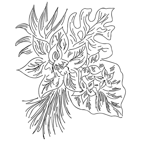 Vector hand drawn sketch with tropical leaves and flowers isolated on white background. Exotic botanical design elements for wedding invitation cards, cosmetics, spa, perfume, beauty salon. Outline.