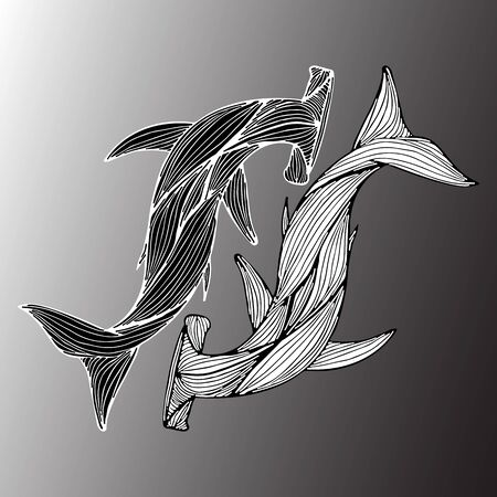 Abstract hand drawn of two giant hammer sharks isolated on gray background.  illustration. Outline. Line art. Top view.