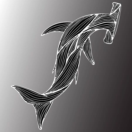 Abstract hand drawn giant hammer shark isolated on gray background.  illustration. Outline. Line art. Top view.