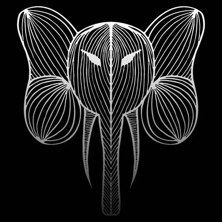 Abstract hand drawn portrait of elephant isolated on black background.  illustration. Outline. Line art.