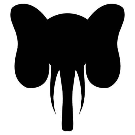 Abstract hand drawn portrait of elephant silhouette isolated on white background.  illustration.