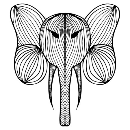 Abstract hand drawn portrait of elephant isolated on white background.  illustration. Outline. Line art.