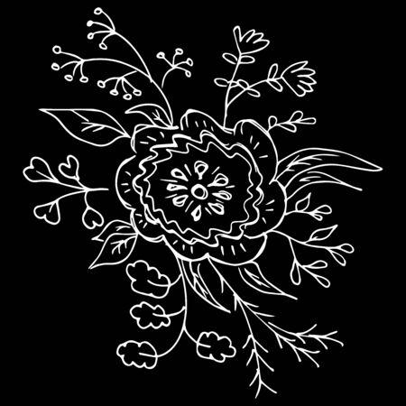 Flores silvestres abstractas aisladas sobre fondo negro. Ilustración dibujada a mano. Esquema.
