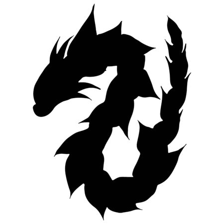 Hand drawn vector dragon silhouette isolated on white background. Fantastic dragon icon. Freehand mythology aminal. Fantasy outline illustration. Banque d'images - 124795805