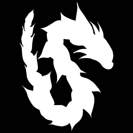 Hand drawn vector dragon silhouette isolated on black background. Fantastic dragon icon. Freehand mythology aminal. Fantasy outline illustration.