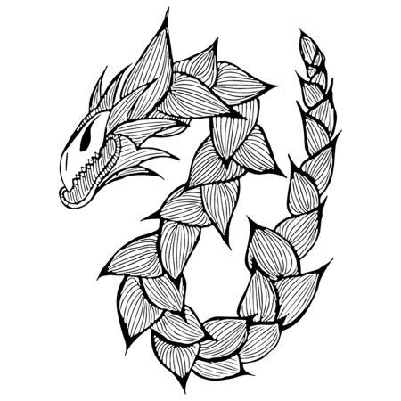 Hand drawn vector dragon illustration. Fantastic dragon icon. Freehand silhouette of mythology aminal. Fantasy outline illustration.