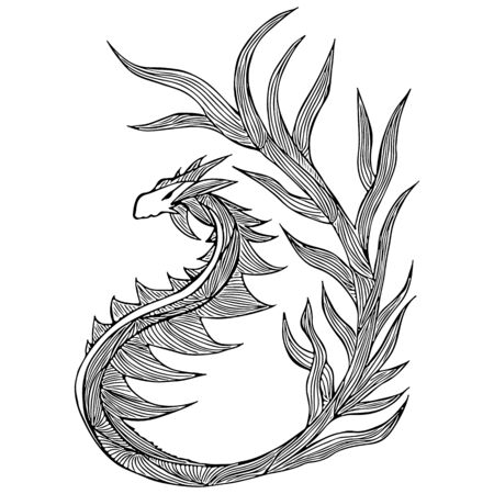 Hand drawn vector dragon illustration. Fantastic dragon icon. Freehand silhouette of mythology aminal. Fantasy outline illustration. Banque d'images - 124795809
