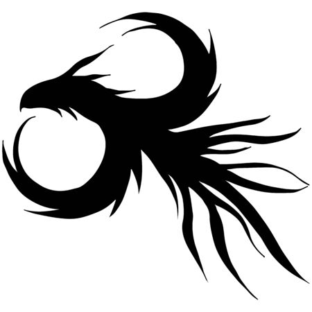 Hand drawn vector dragon silhouette isolated on white background. Fantastic dragon icon. Freehand mythology aminal. Fantasy outline illustration. Banque d'images - 124795834