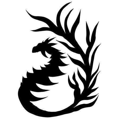 Hand drawn vector dragon silhouette isolated on white background. Fantastic dragon icon. Freehand mythology aminal. Fantasy outline illustration.