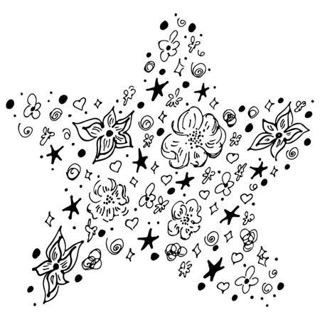 Outline sea and ocean wildlife underwater animal sea star simple silhouette isolated on white background. Ilustração