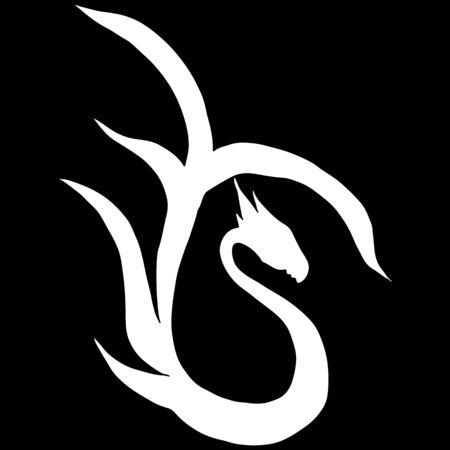 Hand drawn vector dragon illustration isolated on black background. Fantastic dragon icon. Freehand mythology aminal. Fantasy outline illustration. Banque d'images - 124795885