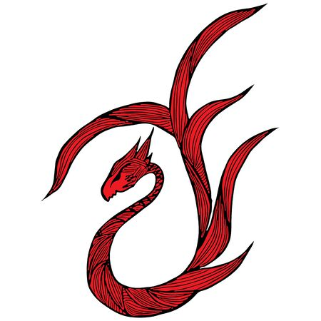 Hand drawn vector red dragon illustration. Fantastic dragon icon. Freehand silhouette of mythology aminal. Fantasy outline illustration. Banque d'images - 124795893