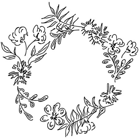 Vector hand drawn sketch with tropical leaves and flowers isolated on white background. Exotic botanical floral frame for wedding invitation cards, cosmetics, spa, perfume, beauty salon. Line art. Ilustrace