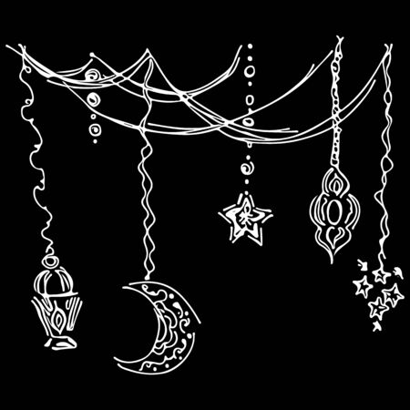 Ramadan kareem icon set sketch outline doodle style isolated on black background. Muslim holiday collection.