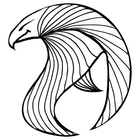 Hand drawn vector eagle illustration. Fantastic hawk icon. Freehand silhouette of outline crow . Fantasy outline illustration. Иллюстрация